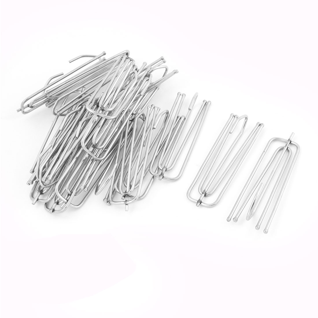 20 Pcs 6.9cm Length Silver Tone Stainess Steel Curtain Pleat Hook