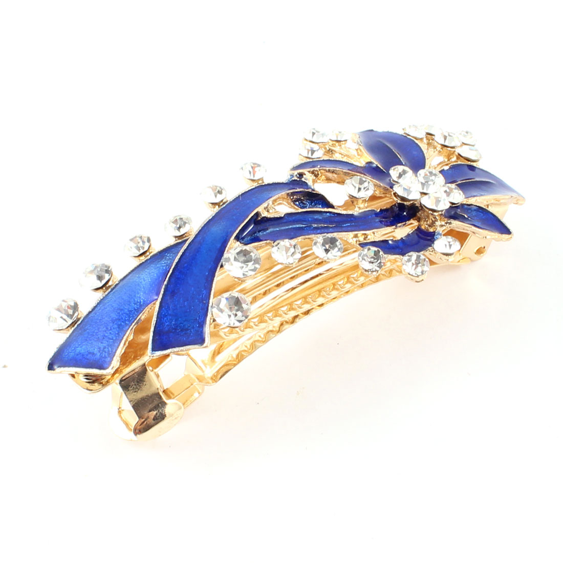Lady Faux Rhinestone Detail Blue Flower Decor Hair Clip Barrette