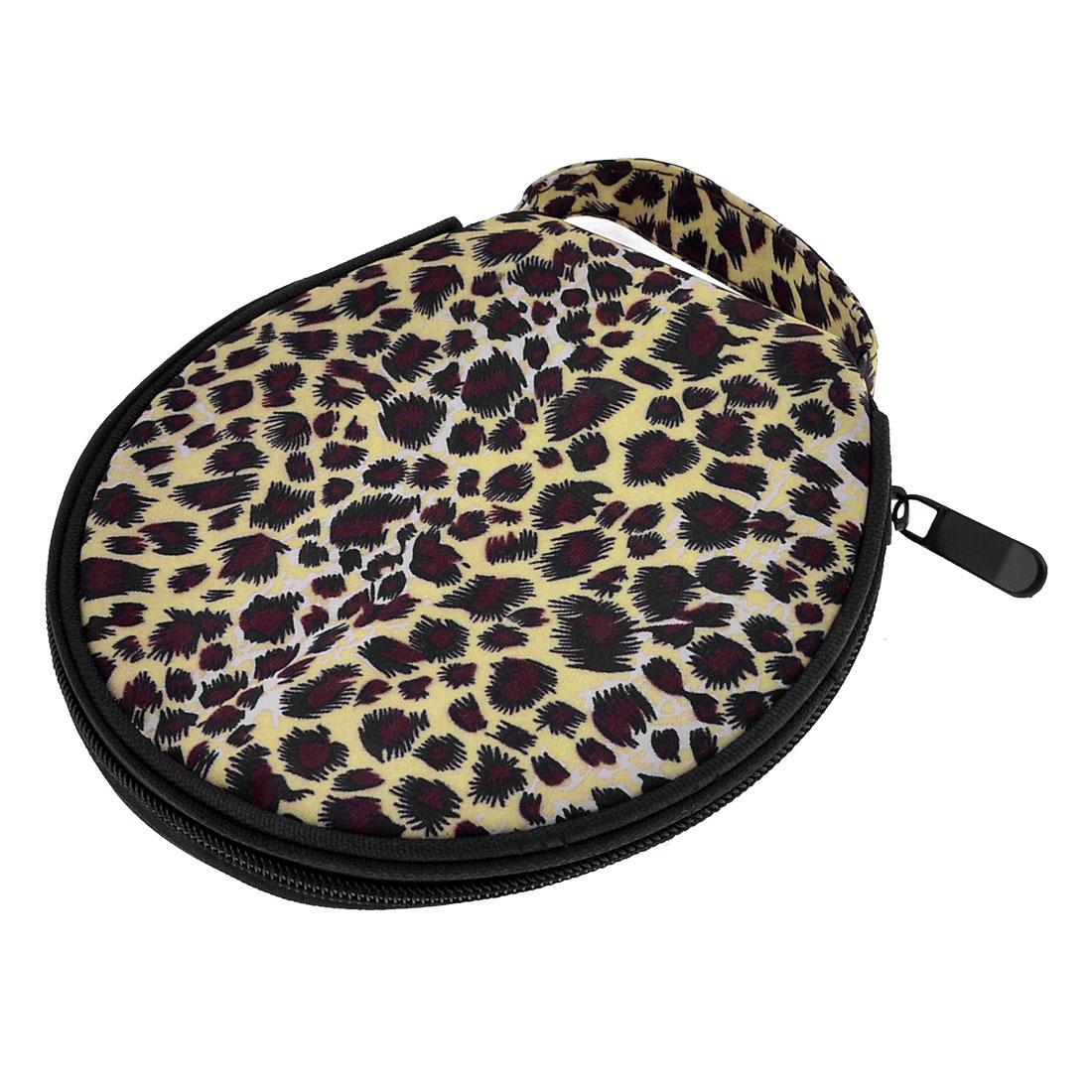 Yellow Leopard Printed Nylon Cover Zipper 20 Capacity CD DVD Bag Case