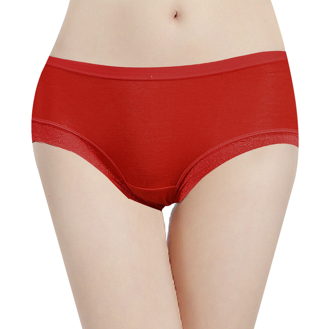 Ladies Lace Splice Fashion NEW Underwear Briefs Red XS