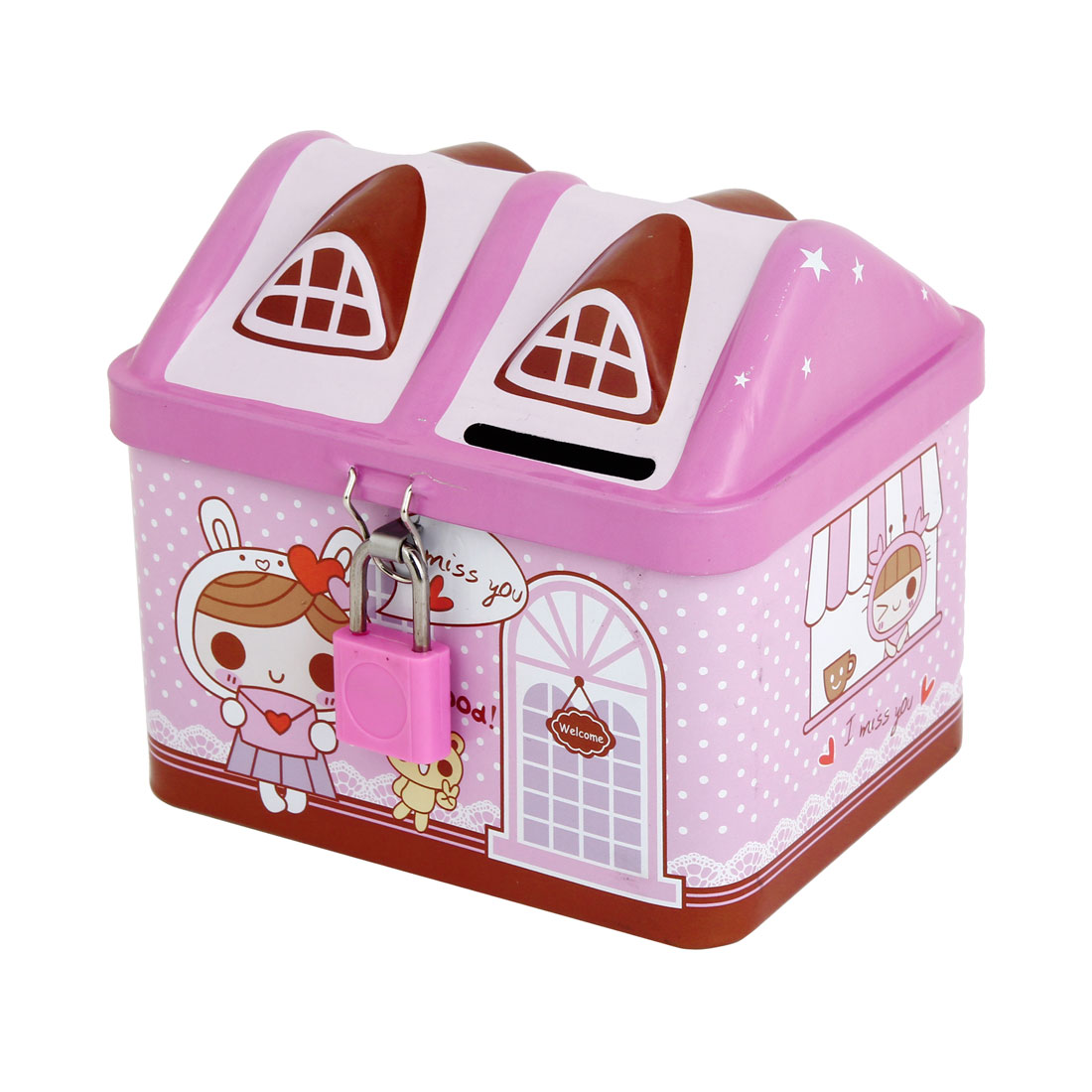 Metal House Shaped Piggy Bank Coin Saving Box Pink w Plastic Lock