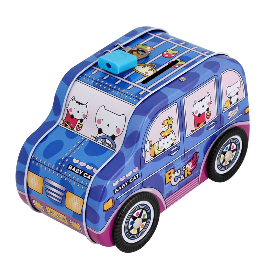 Car Shaped Piggy Bank Money Saving Box Blue w Plastic Lock