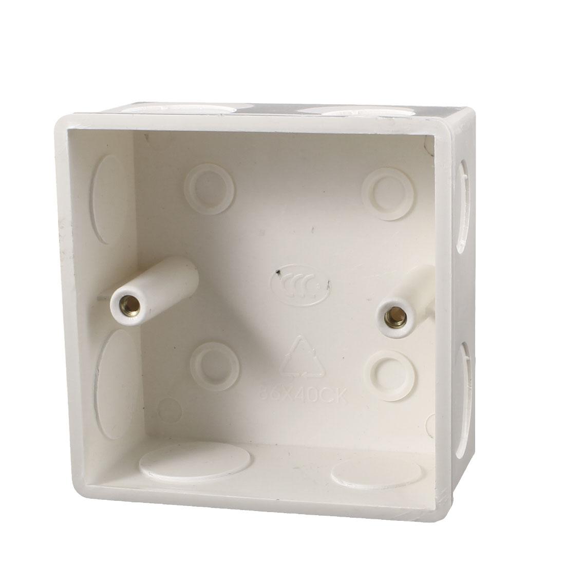 86mm x 86mm x 40mm White Plastic Dual Sockets Mount Back Box for Wall Socket