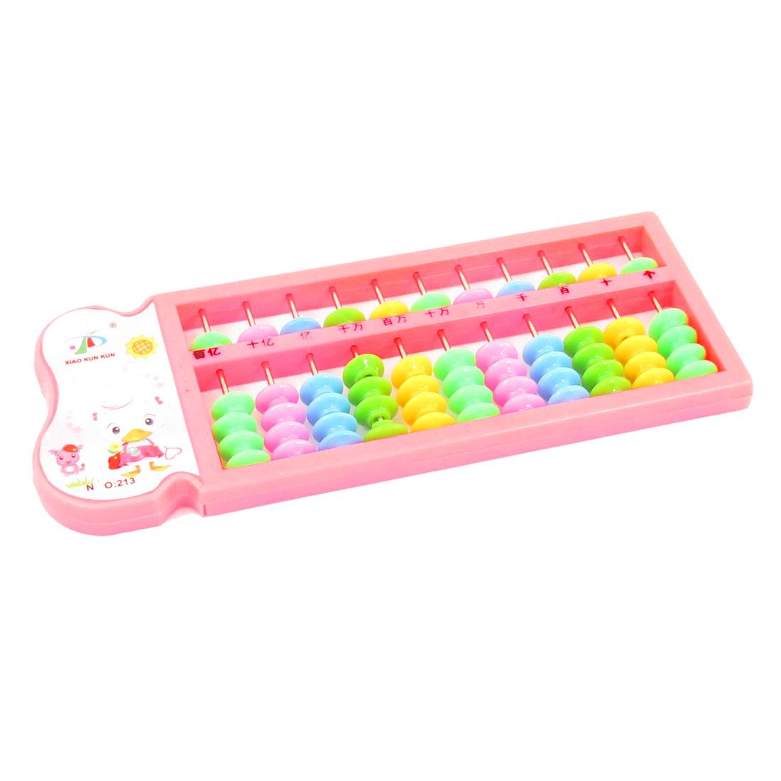 Education 55 Beaded 11 Rows Hot Pink Plastic Frame Mini Abacus Soroban