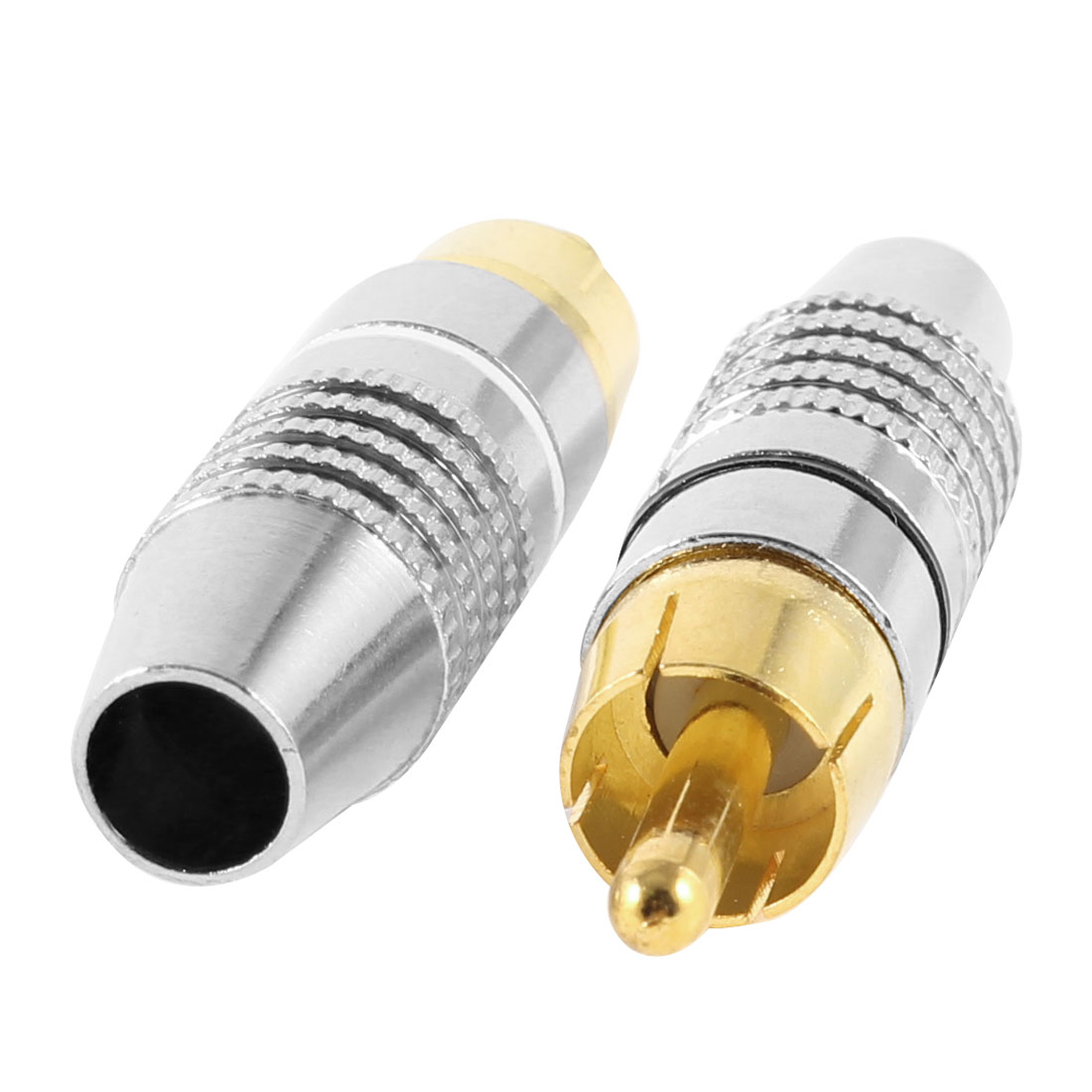 2 Pcs 45mm x 12mm Male RCA Jack Audio Video AV Connectors Adapters