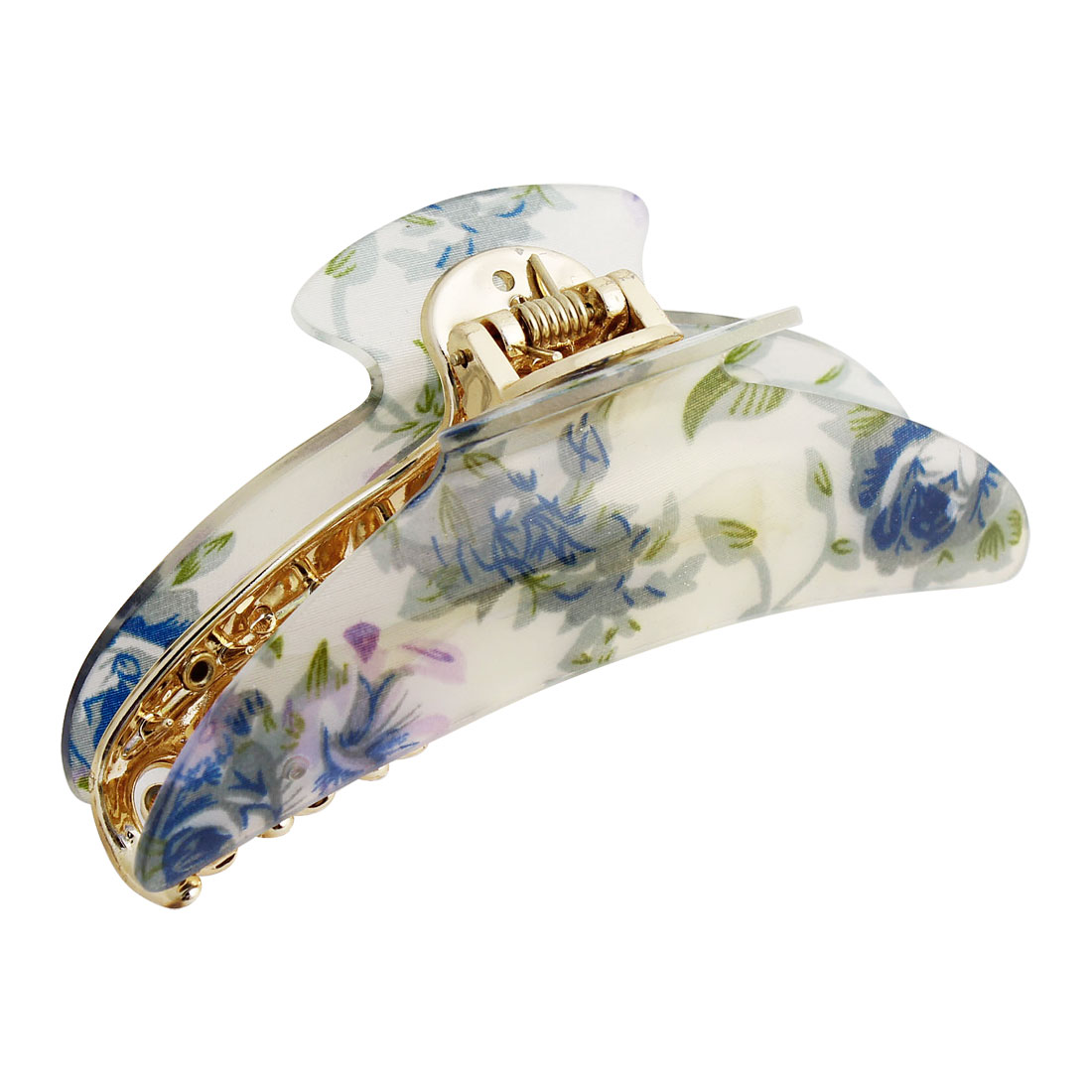 Plastic White Blue Green Flower Pattern Hair Clip Claw Clamp for Women