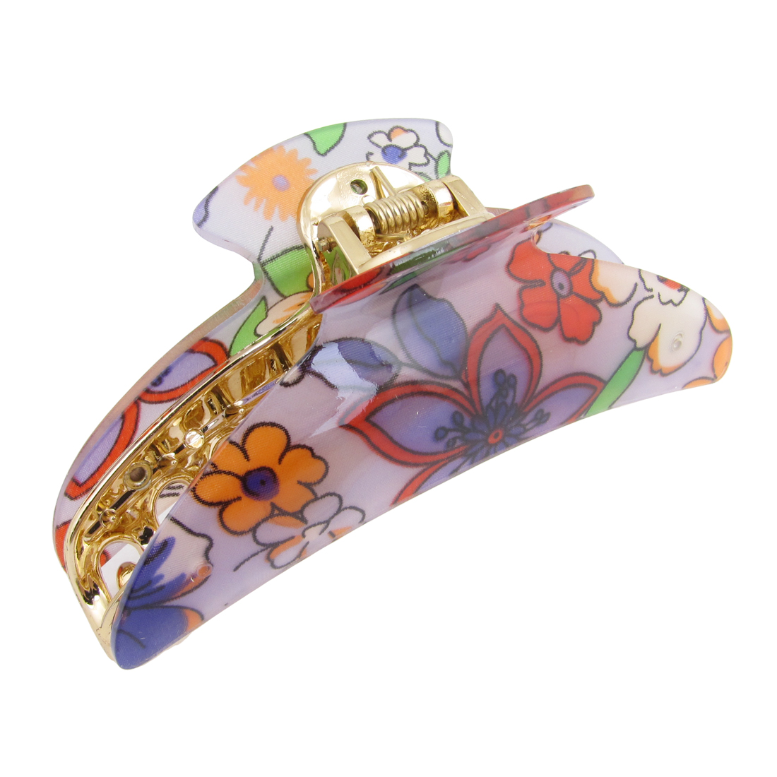 Plastic Purple Red Orange Floral Pattern Hair Claw Clamp for Women