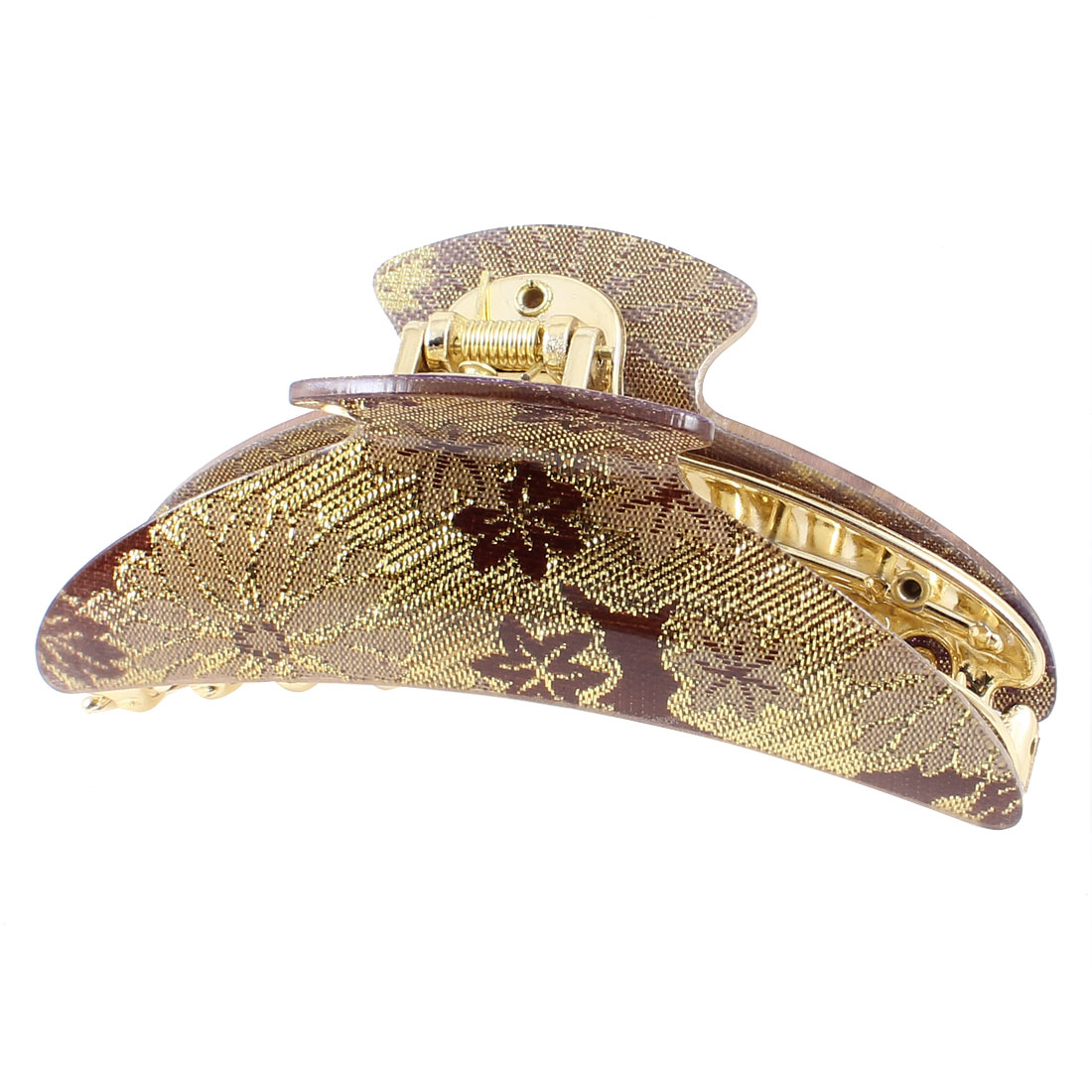Gold Tone Purple Brown Florals Pattern Spring Loaded Hair Claw Clip Clamping