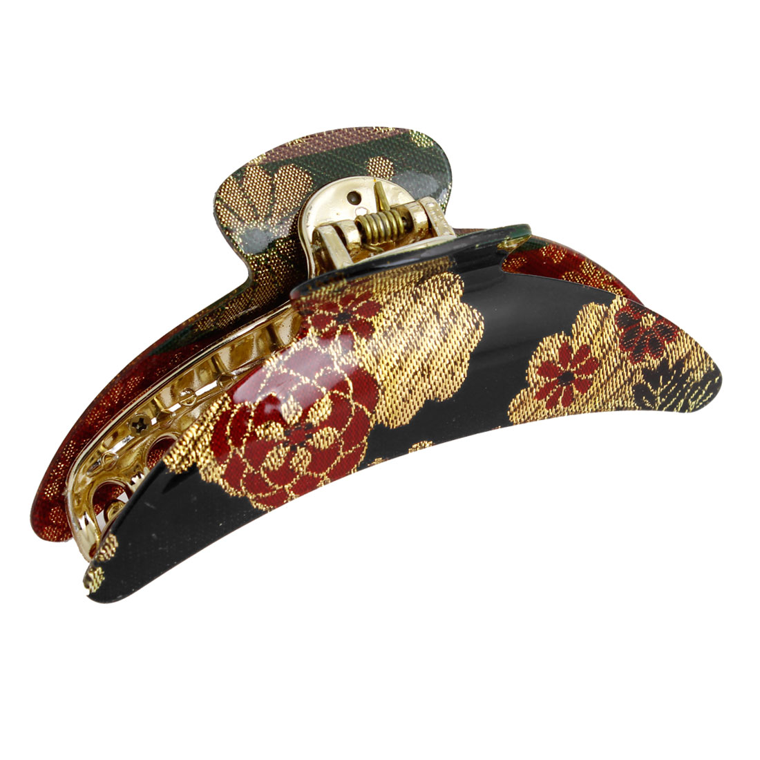 Plastic Black Gold Tone Red Floral Print Hair Clip Claw Clamp for Women