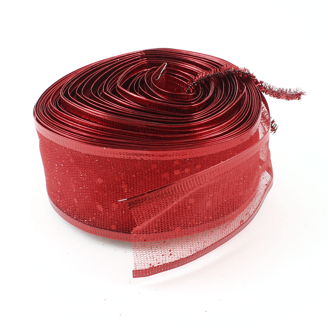 2M Long 50mm Wide Wired Gauze Ribbon Red Glitter Detail for Christmas Decoration