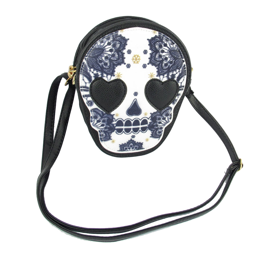Black Flower Pattern Skull Shape Zipper Shoulder Bag for Woman
