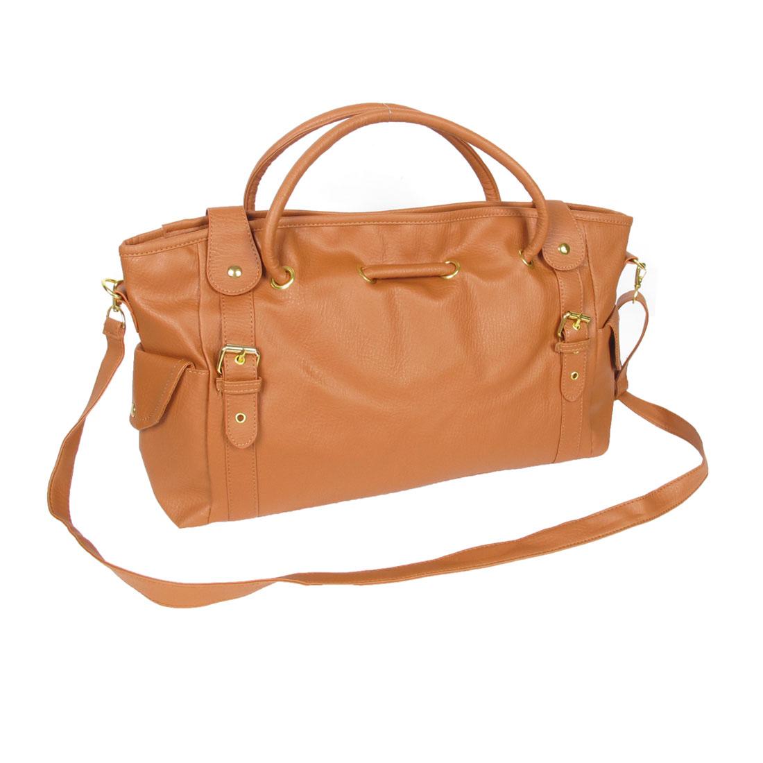 Women Magnetic Flap Closure Adjustable Belt Brown Faux Leather Bag Handbag