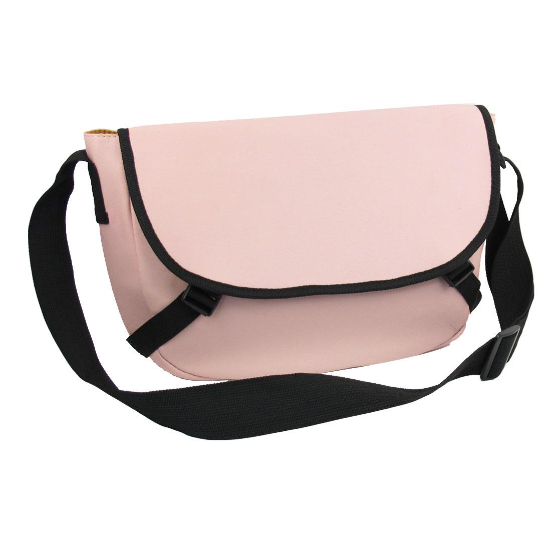 Handy Women Black Brim Pink Faux Leather 3 Compartment Shoulder Bag