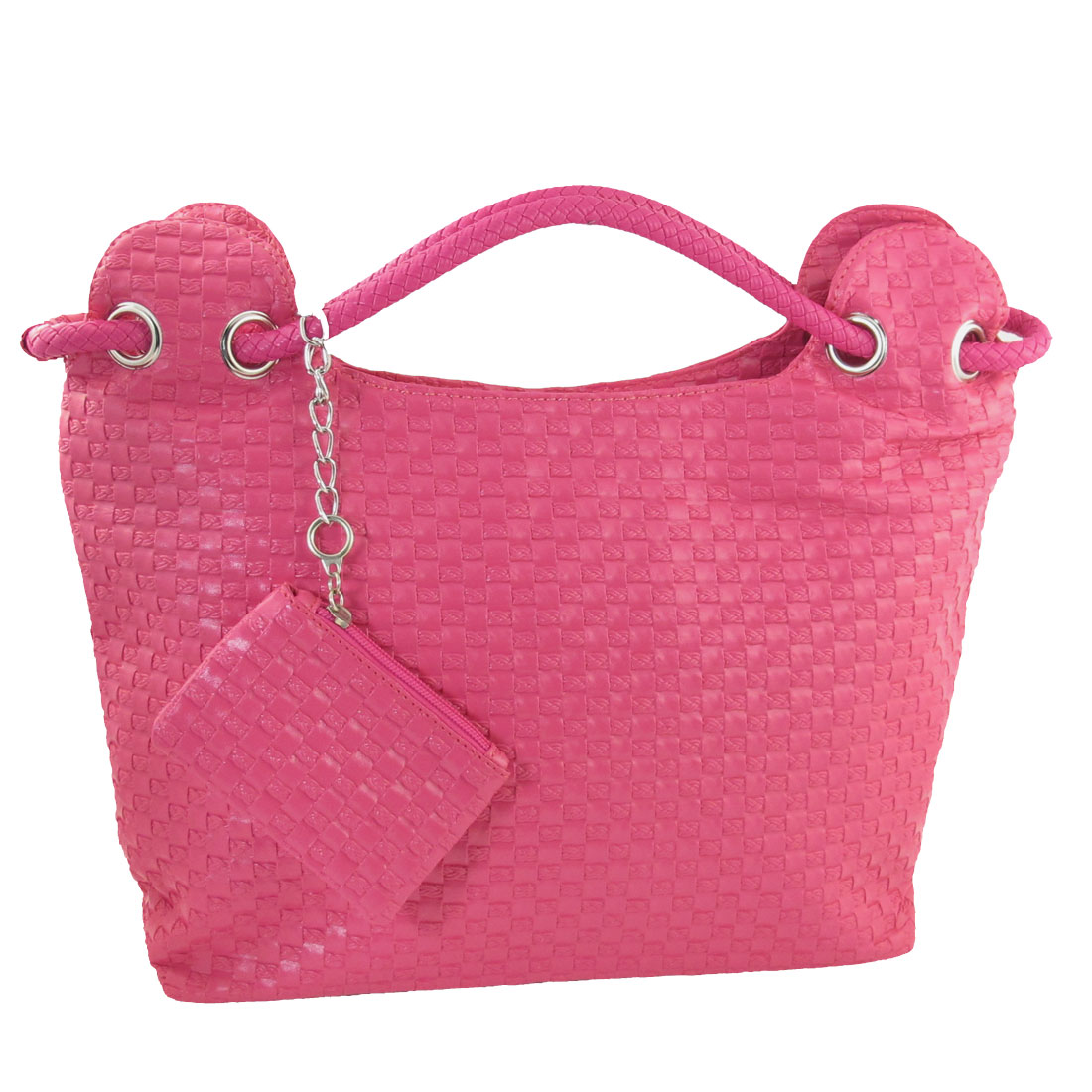 Women Travel Woven Print Pink Faux Leather Cosmetic Holder Handbag Bag