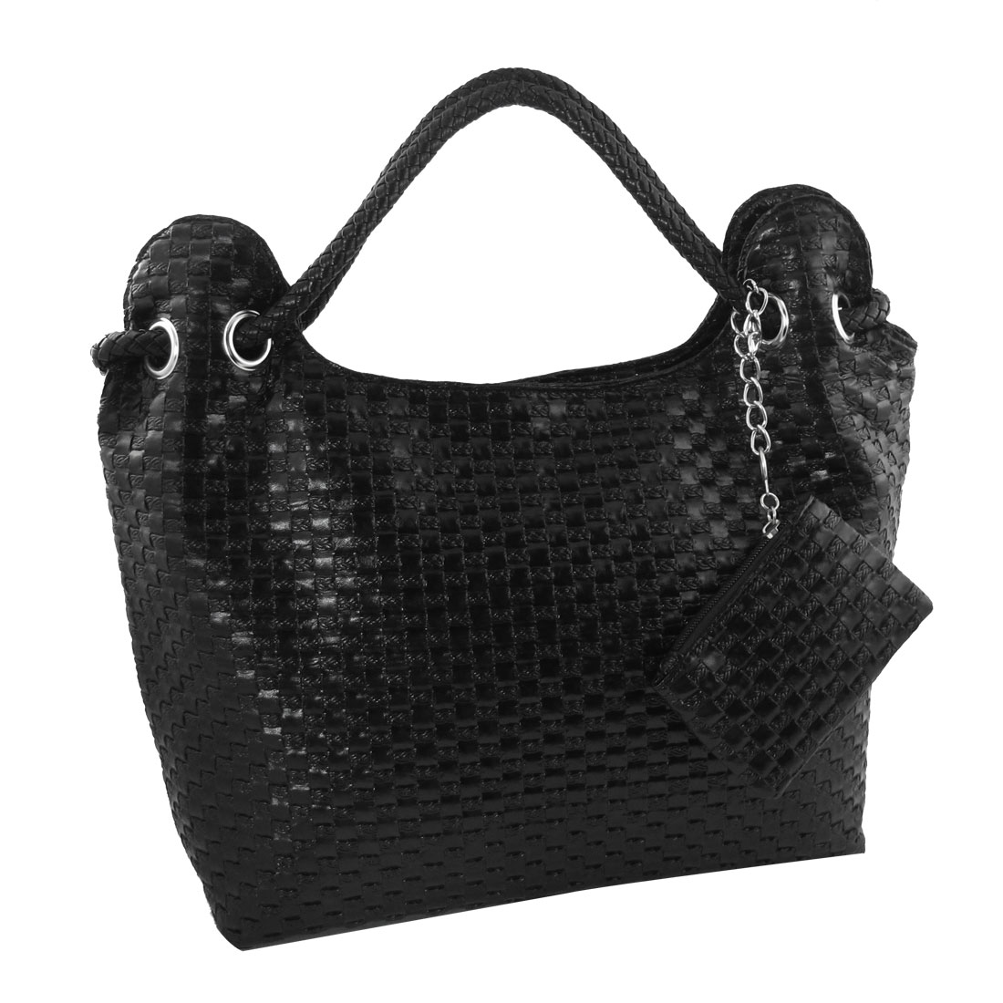 Women Travel Woven Print Black Faux Leather Cosmetic Holder Handbag Bag
