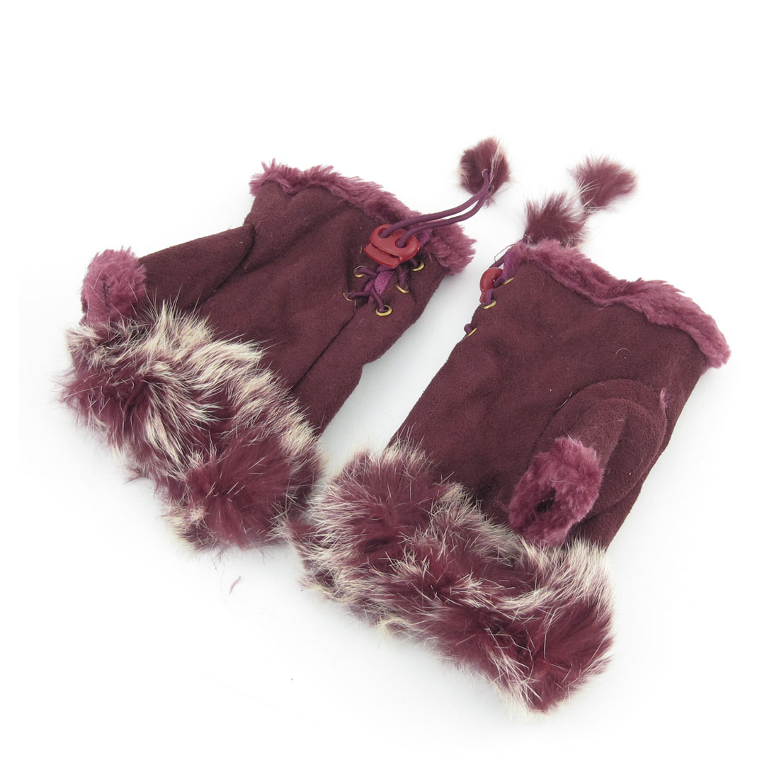 Pair Ladies Winter Outdoors Faux Fur Decor Fingerless Gloves Mitten Burgundy