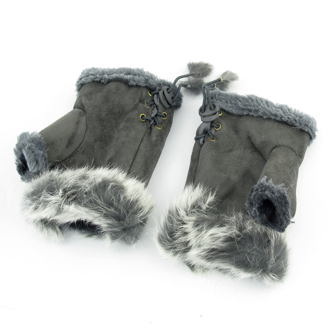 Pair Ladies Winter Outdoors Faux Fur Decor Fingerless Gloves Mitten Gray
