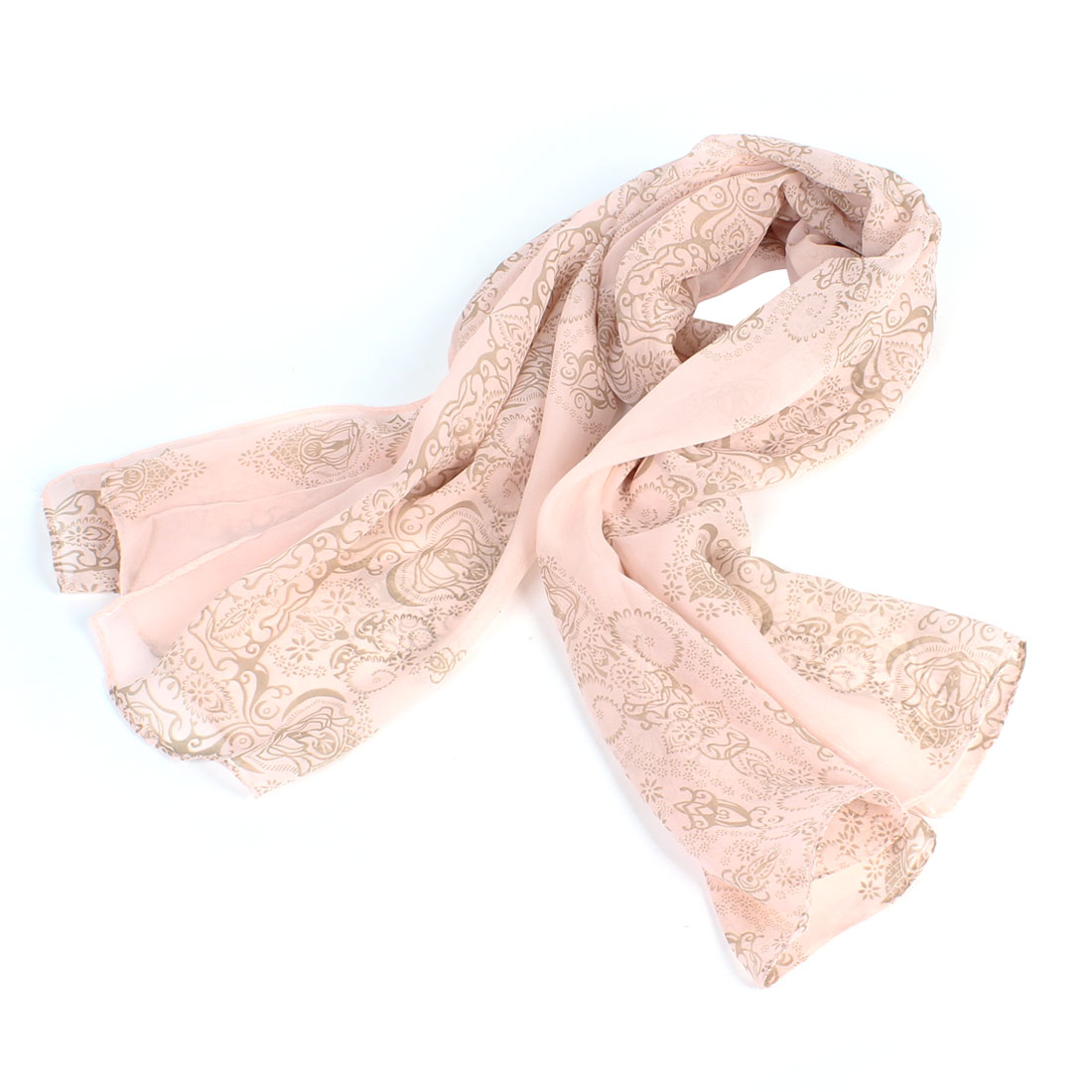 Lady Retro Printed Rectangular Thin Scarf Wrap Light Pink