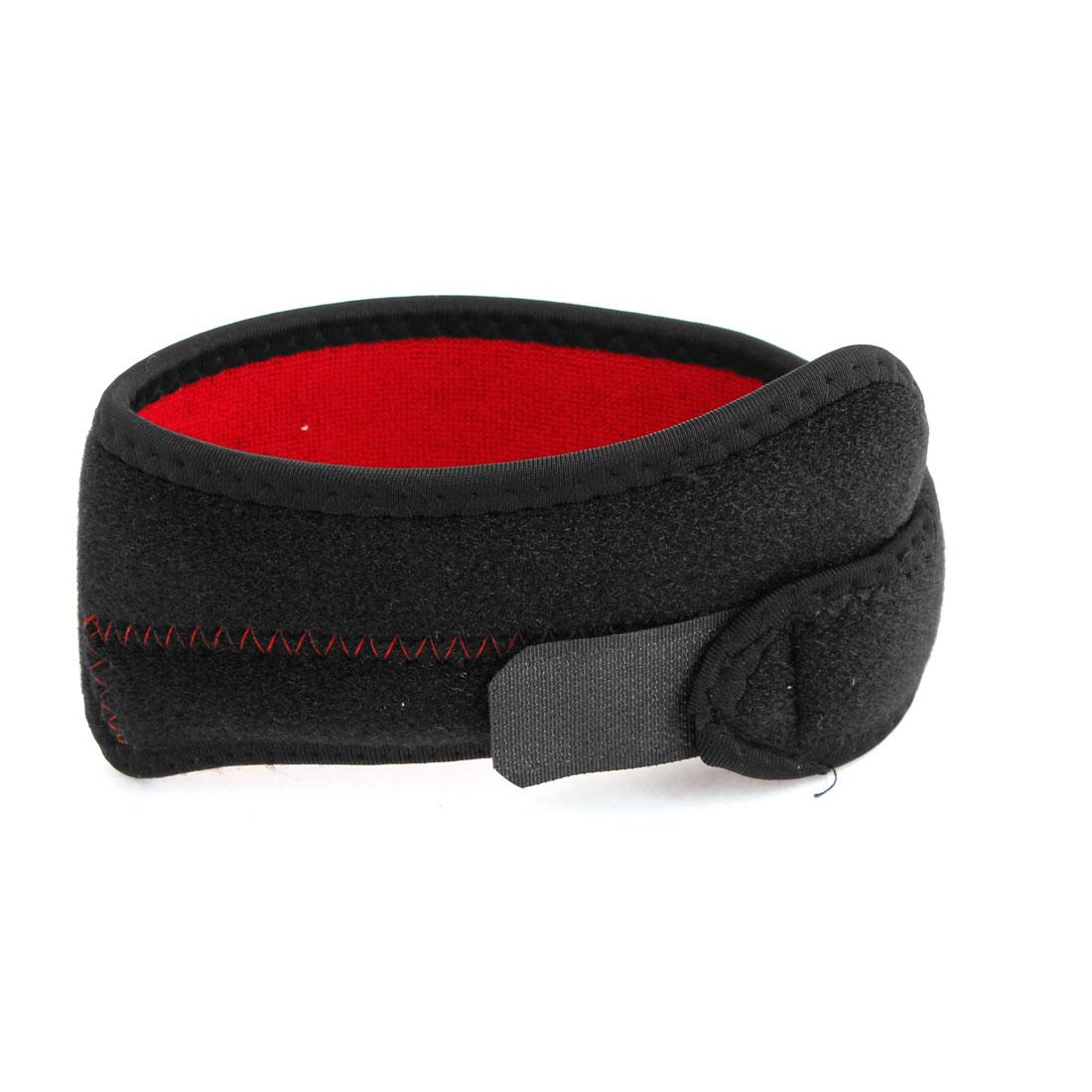 Sports Training Black Red Hook Loop Fastener Neoprene Knee Support Brace