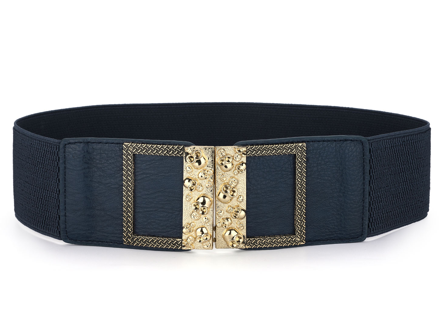 Gold Tone Skull Carved Interlocking Buckle 6cm Width Elastic Cinch Waist Belt Dark Blue