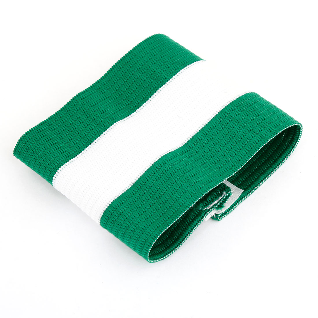 Outdoor White Green Striped Nylon Stretchy Team Game Soccer Armband