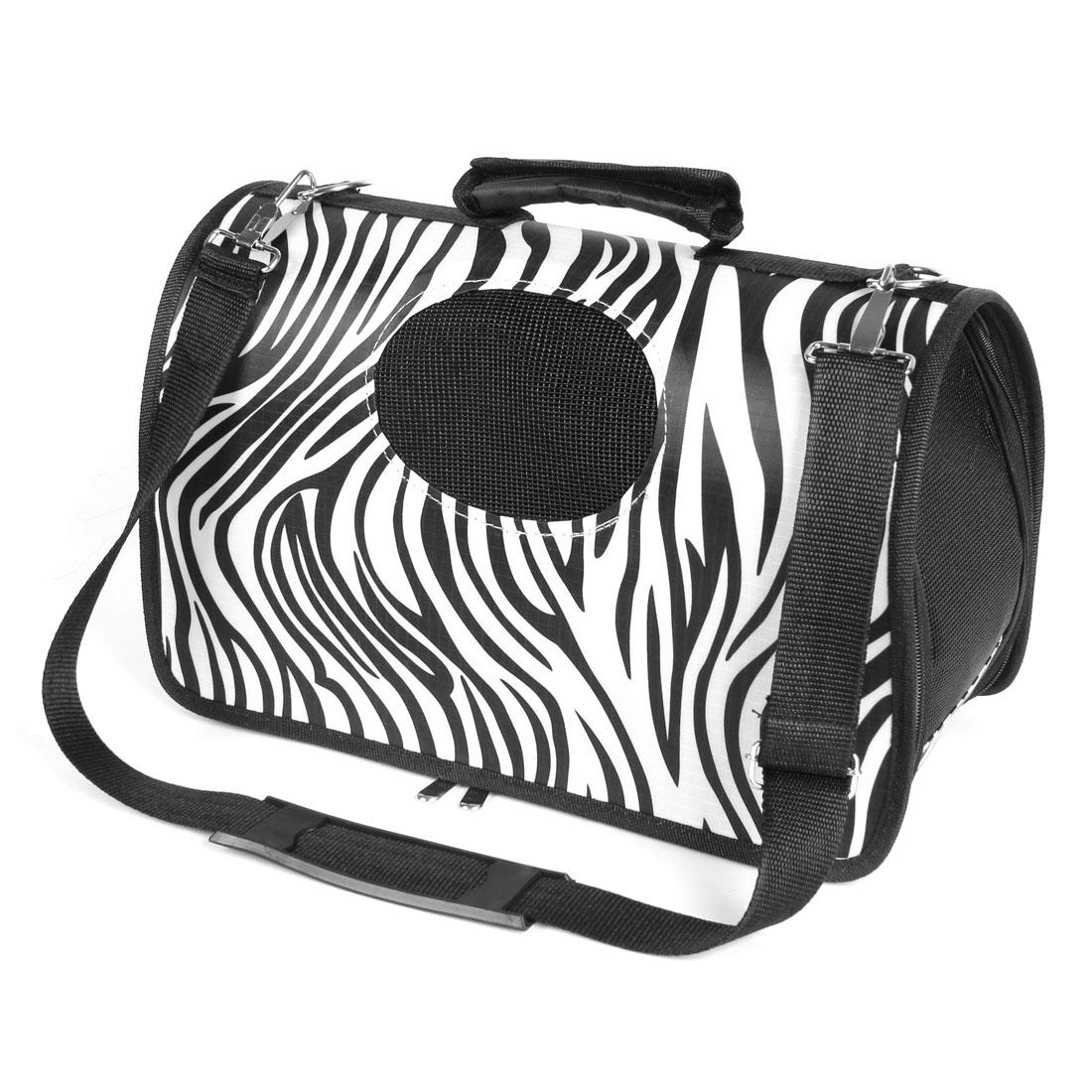 Black White Zebra Print Folding Netty Travel Carrying Zipped Cat Dog Pet Bag