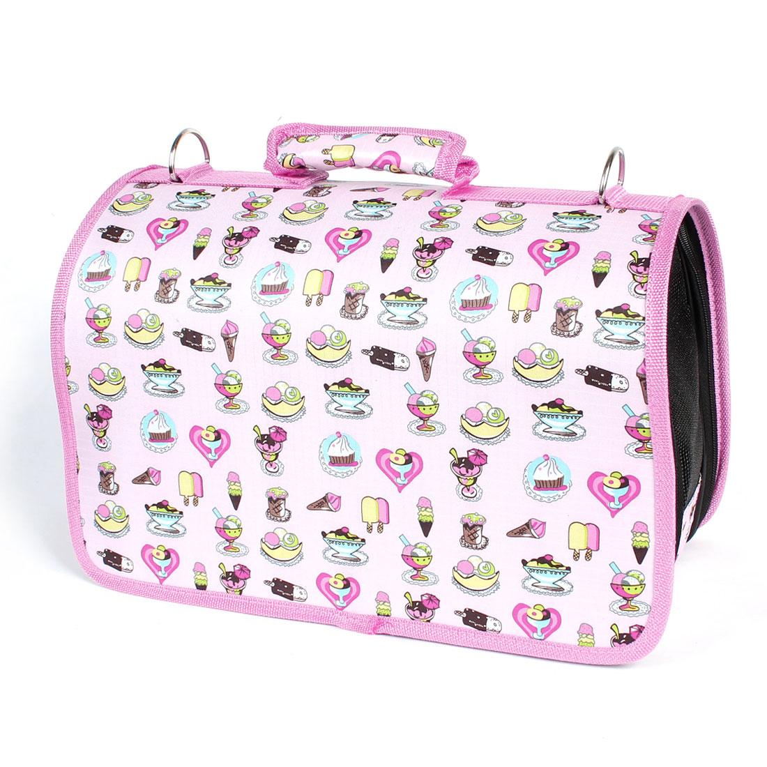 Pink Cartoon Print Folding Netty Travel Carrying Zipped Cat Dog Pet Bag