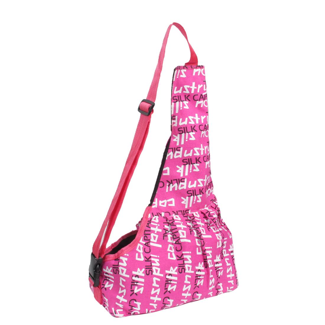 Fuchsia English Words Print Adjustable Strap Pet Dog Versipacks Bag