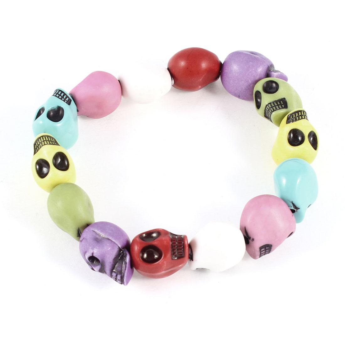 Girl Colorful Plastic Skull Beads Design Elastic Bracelet