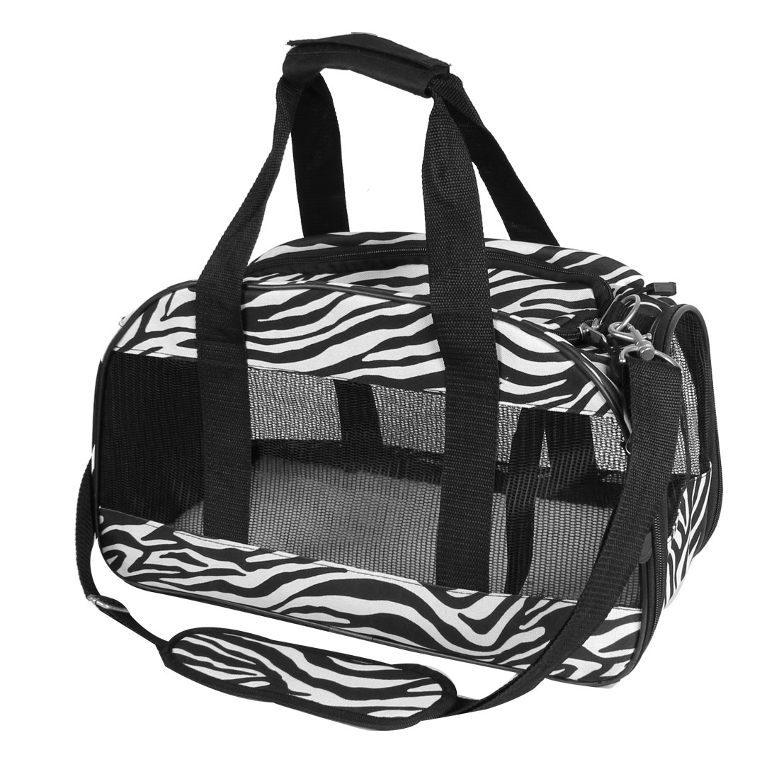 Zebra Print Netty Travel Carrier Carry Zipped Puppy Pet Bag Black White