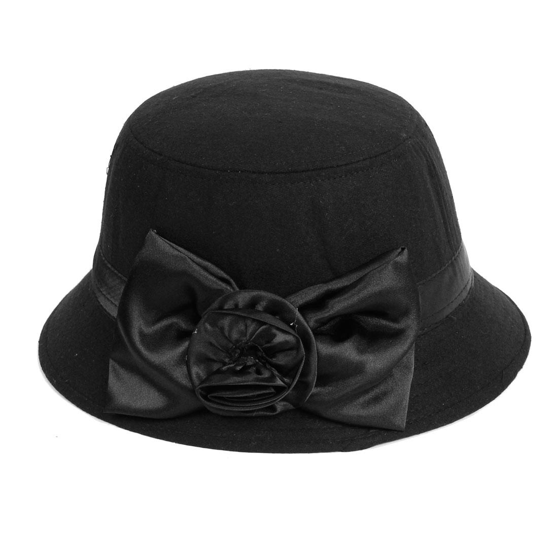 Black Flower Bowknot Accent Woolen Cloche Bucket Hat L for Ladies