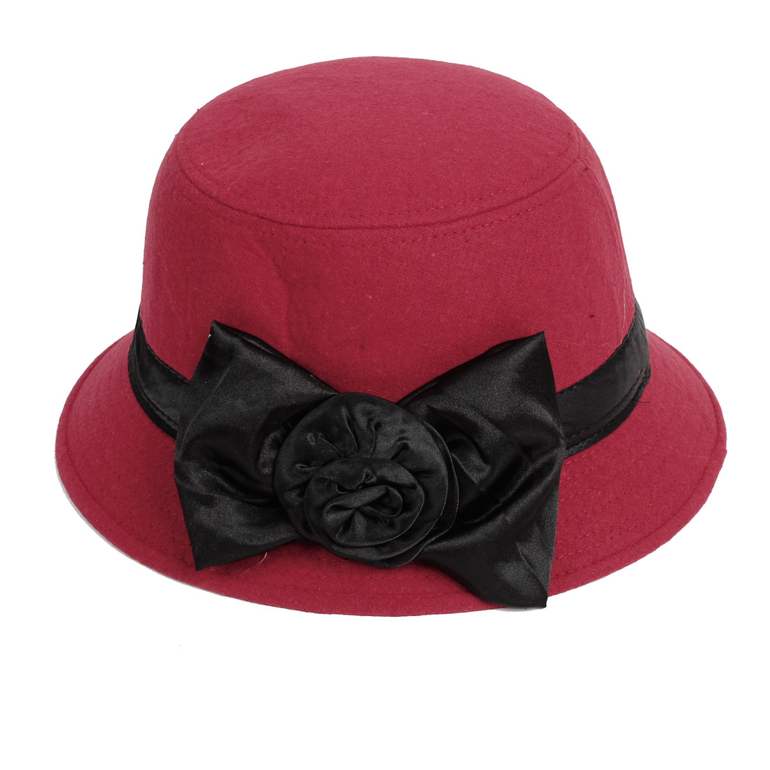 Flower Bowknot Accent Woolen Cloche Bucket Hat Red L for Ladies