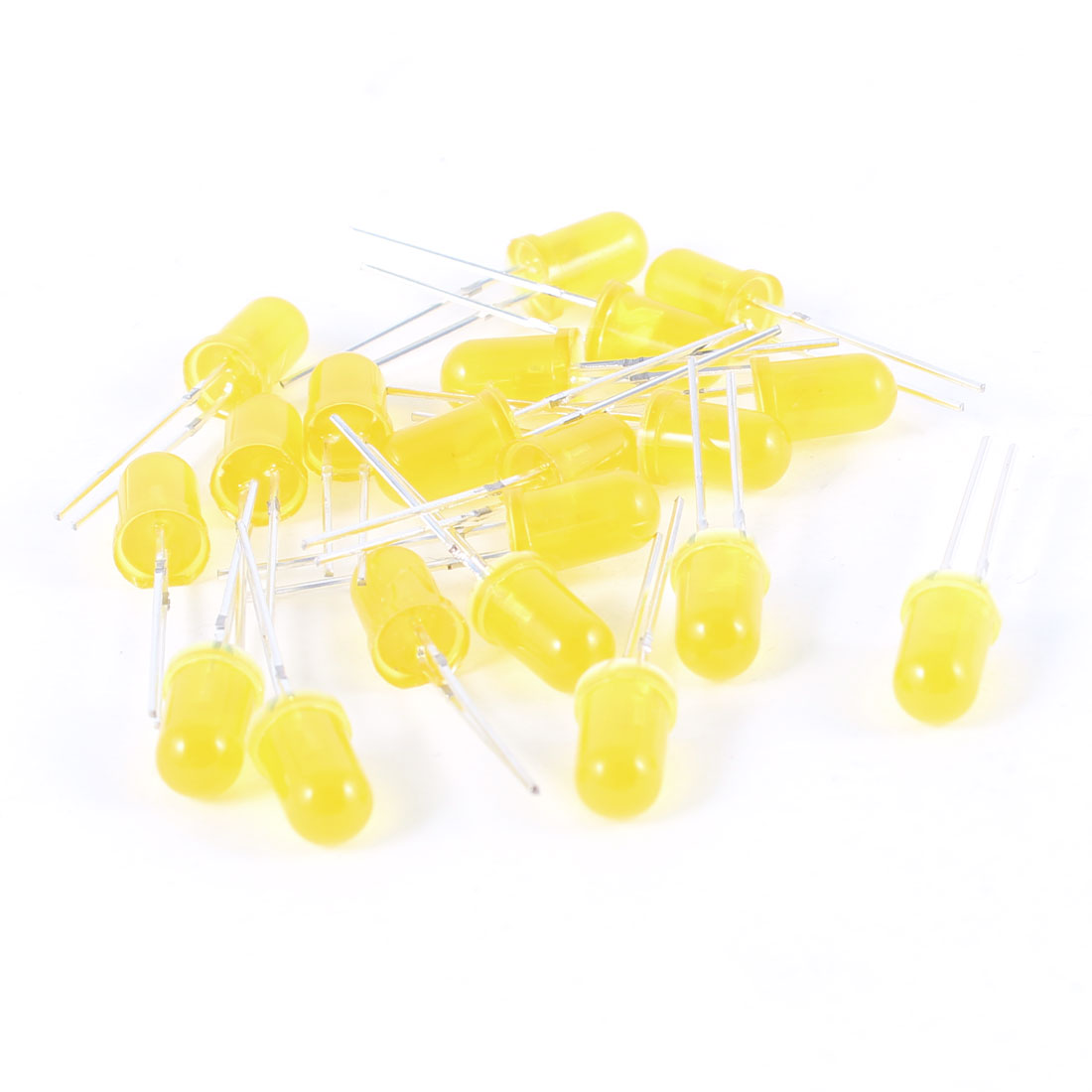 20 Pcs 2Pin DIP 5mm Straw Hat Yellow Light LED Bulb Emitting Diodes