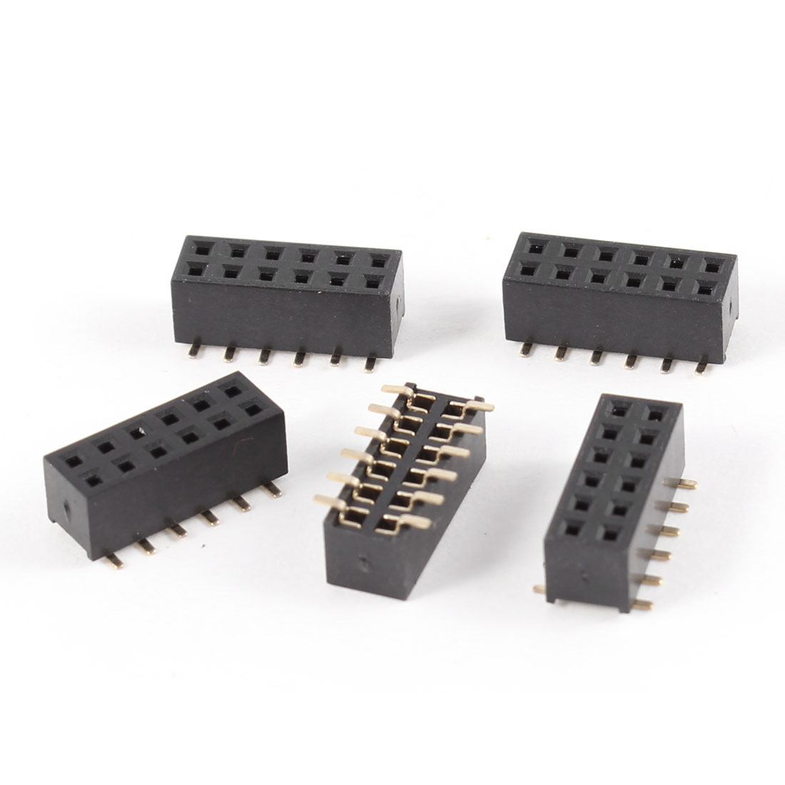 5Pcs Double Row 2mm Pitch 2x6 Pins SMT SMD Female Header Socket