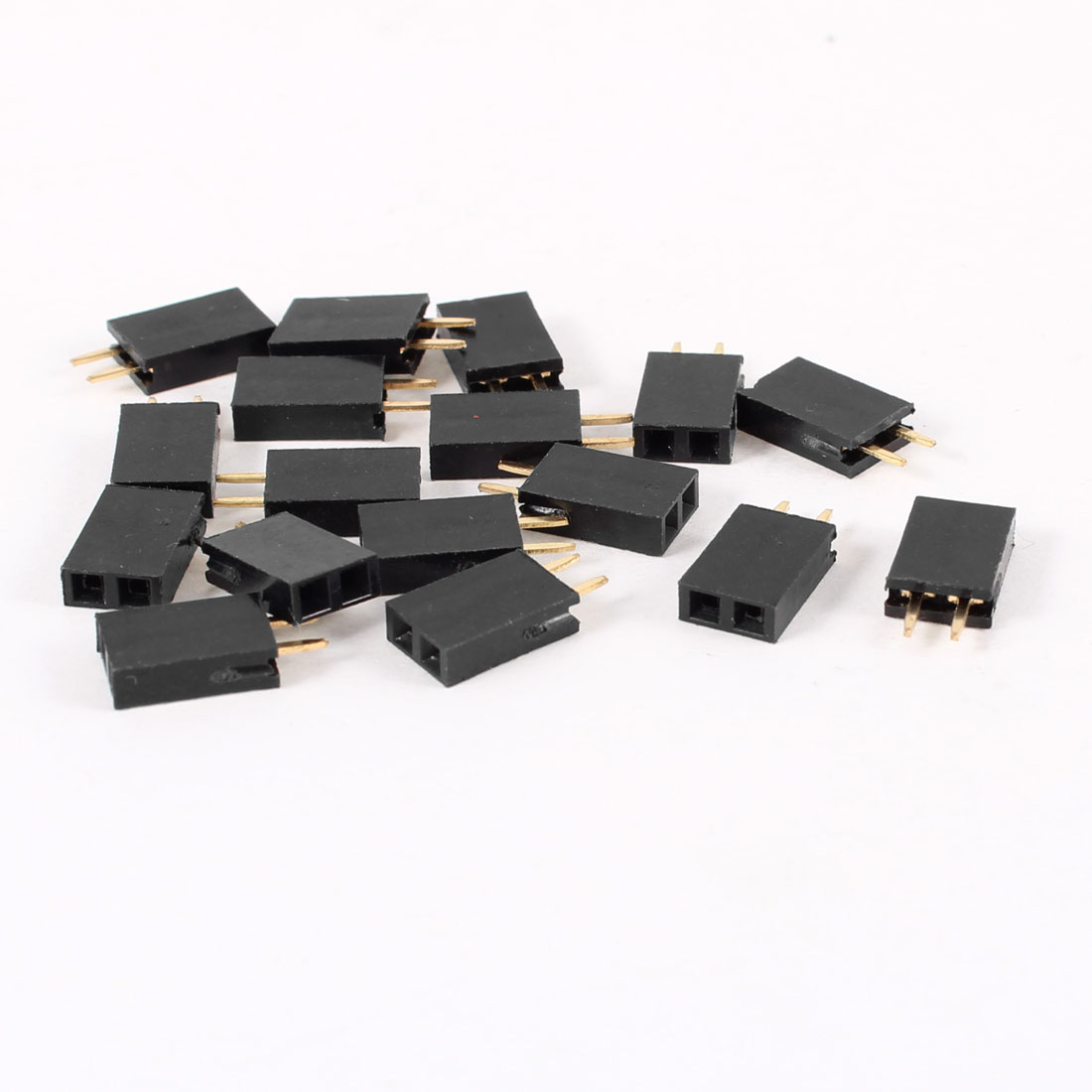 16pcs Straight Single Row 2.54mm Pitch 2 Terminal Connector Female Header