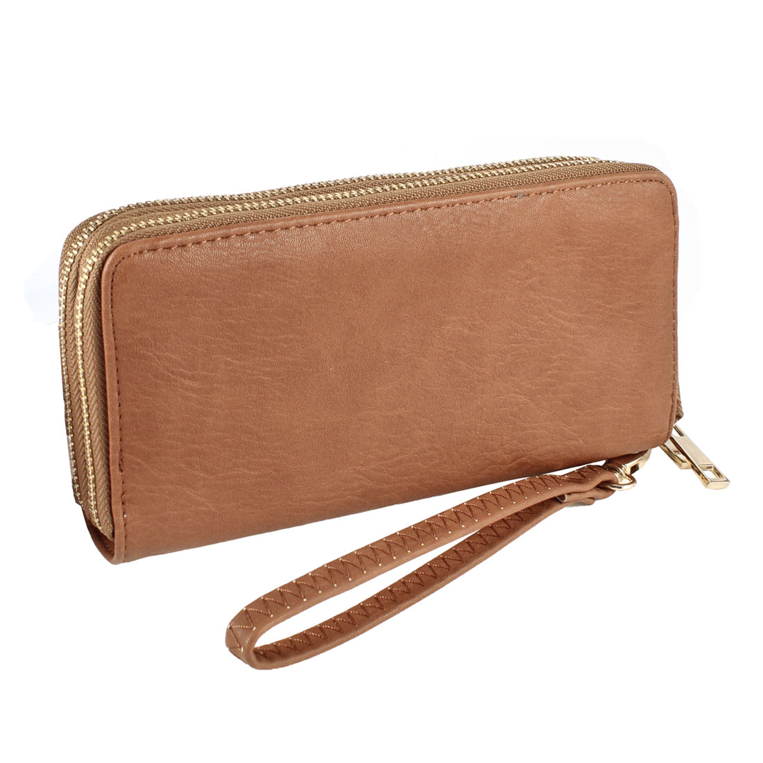 Lady Brown Faux Leather 2 Layers Zip up L-Shape Wrist Strap Wallet Purse