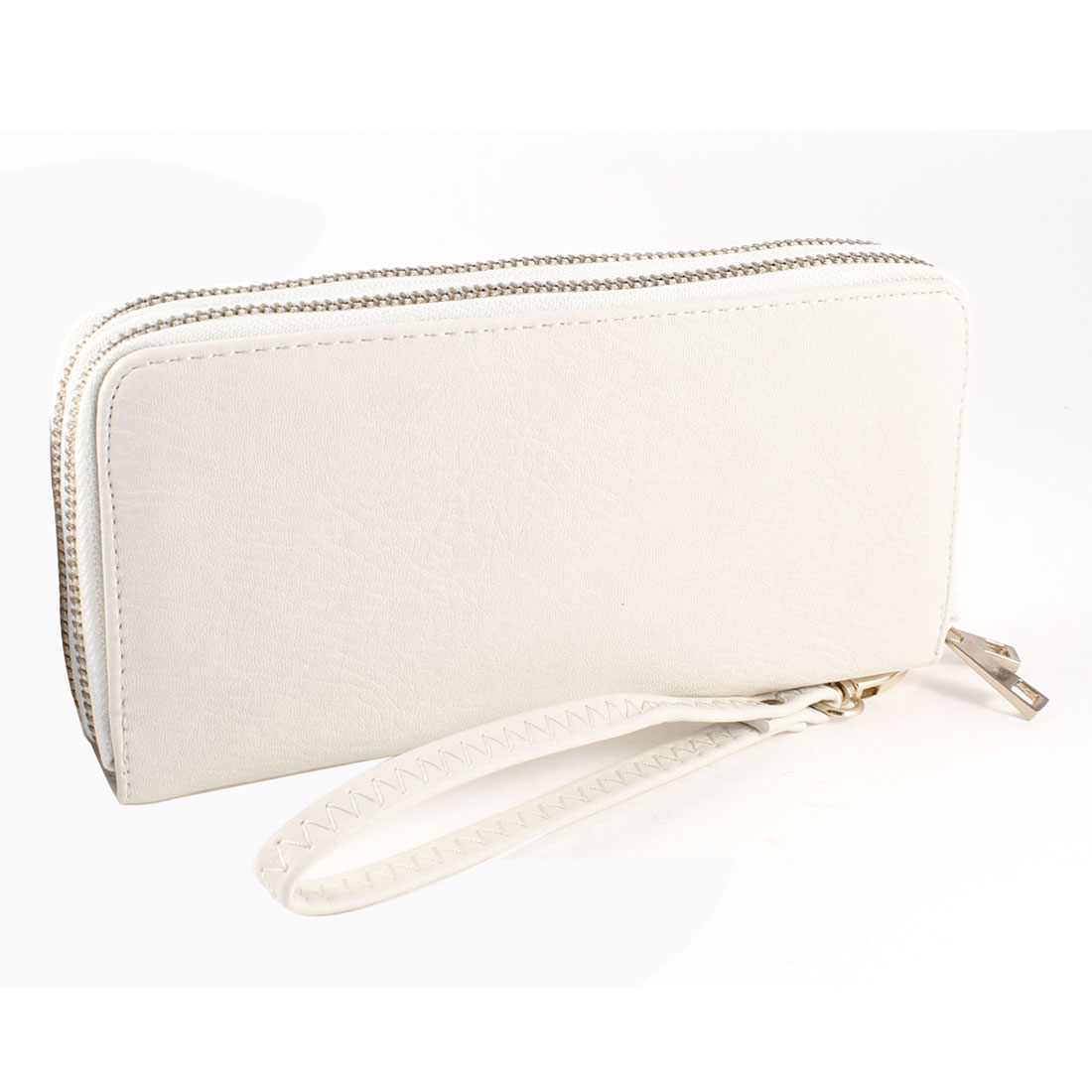 Lady White Faux Leather 2 Layers Zip up L-Shape Wrist Strap Wallet Purse