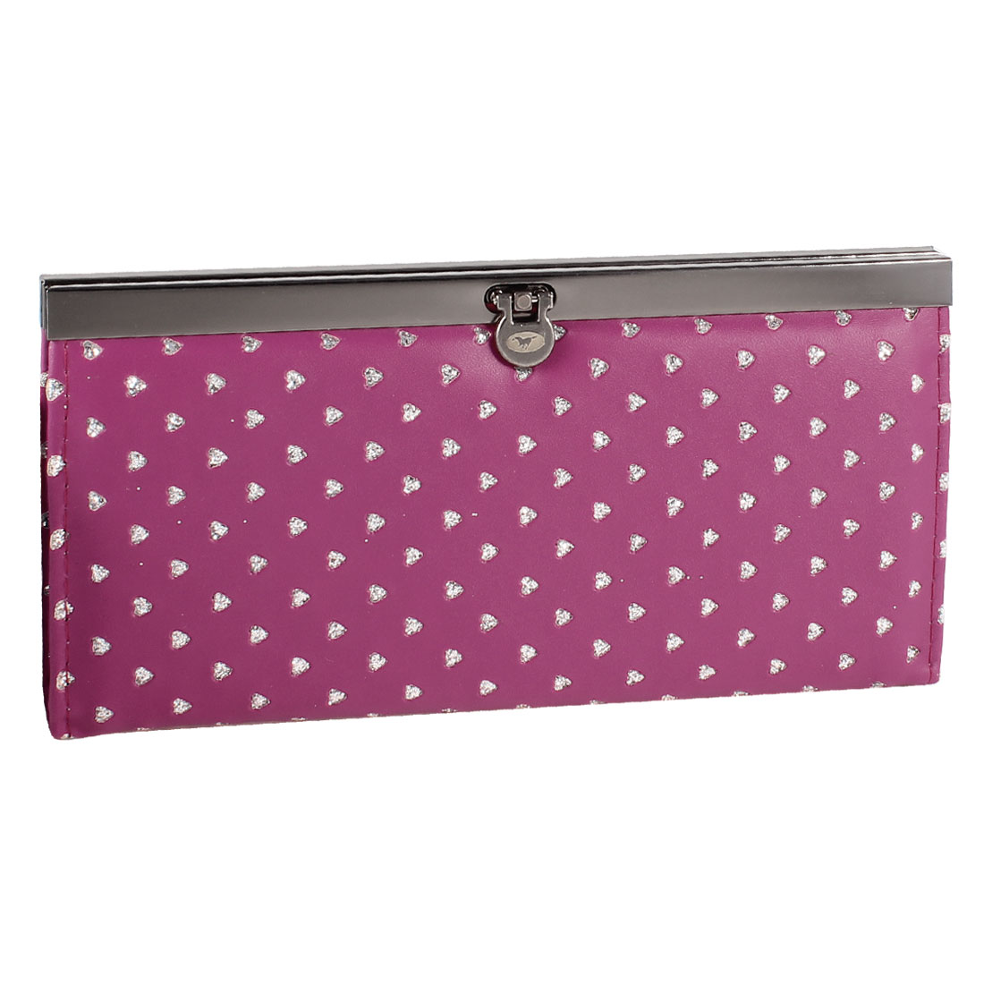 Lady Hearts Printed Flip Lock Closure Faux Leather Wallet Purse Fuchsia