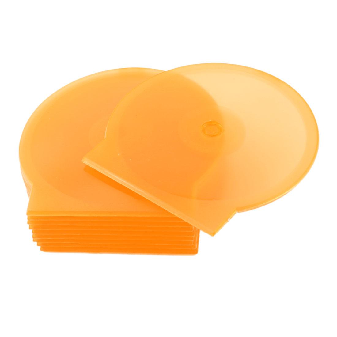 """10 Pcs Round Design Cases Plastic Clear Orange 4.8"""" Dia DVD CD Box Holder"""