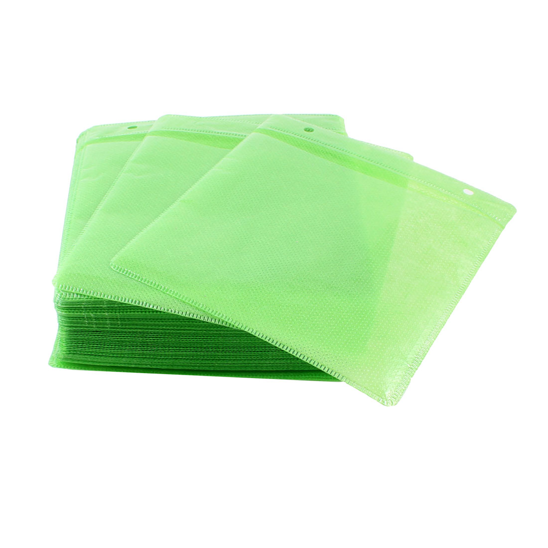 14.5cm x 12.6cm Green Non-woven Fabric CD Storage Holder Bags 100 Pcs