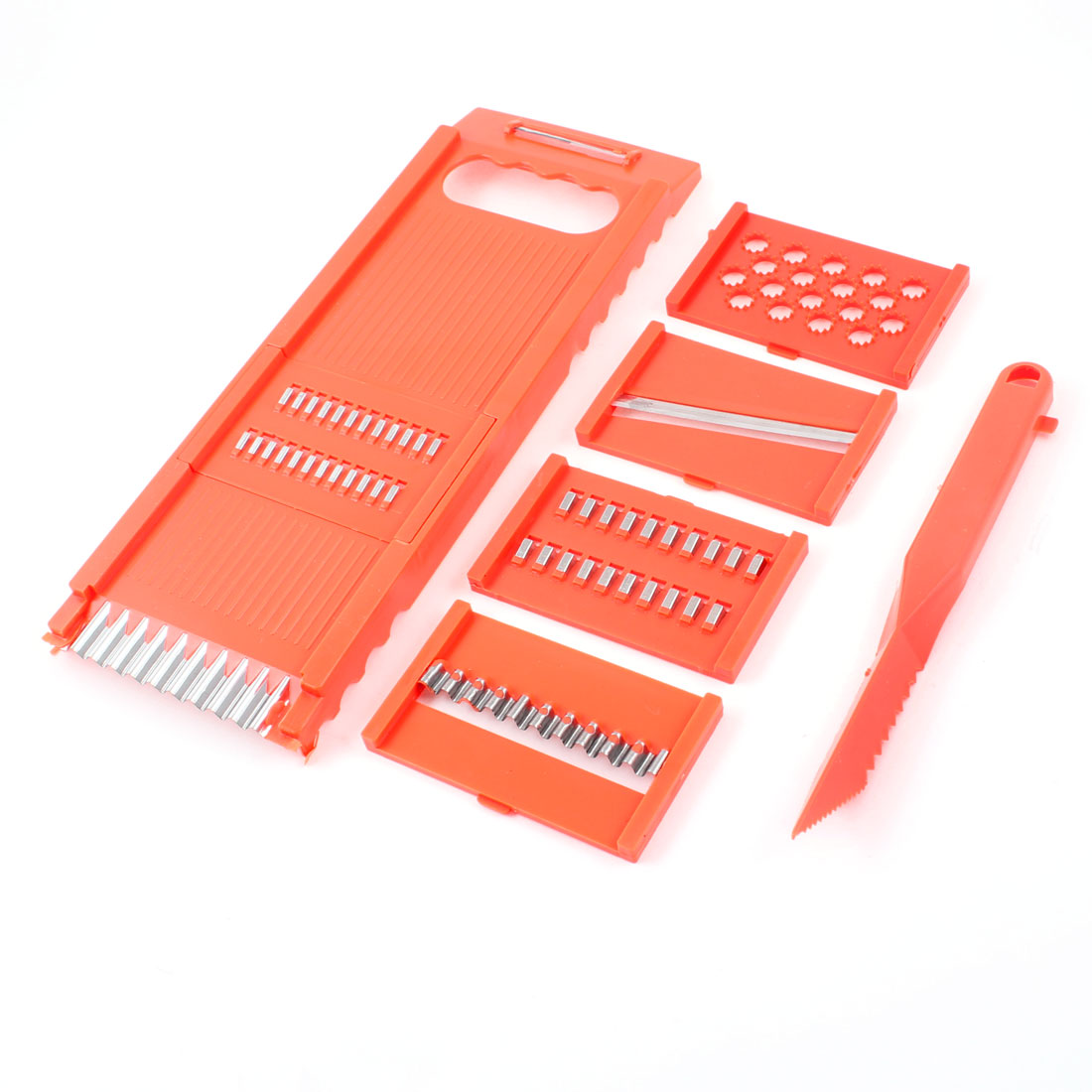 6 Pcs Orange Red Plastic Multifuctional Vegetable Potato Grater Peeler Set