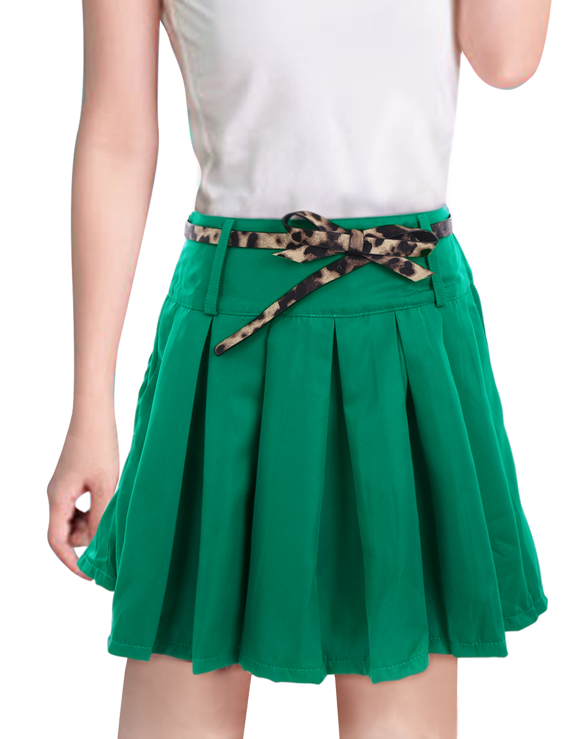 Ladies Pretty Pure Green Pleated Flare Mini Skirt w Belt L