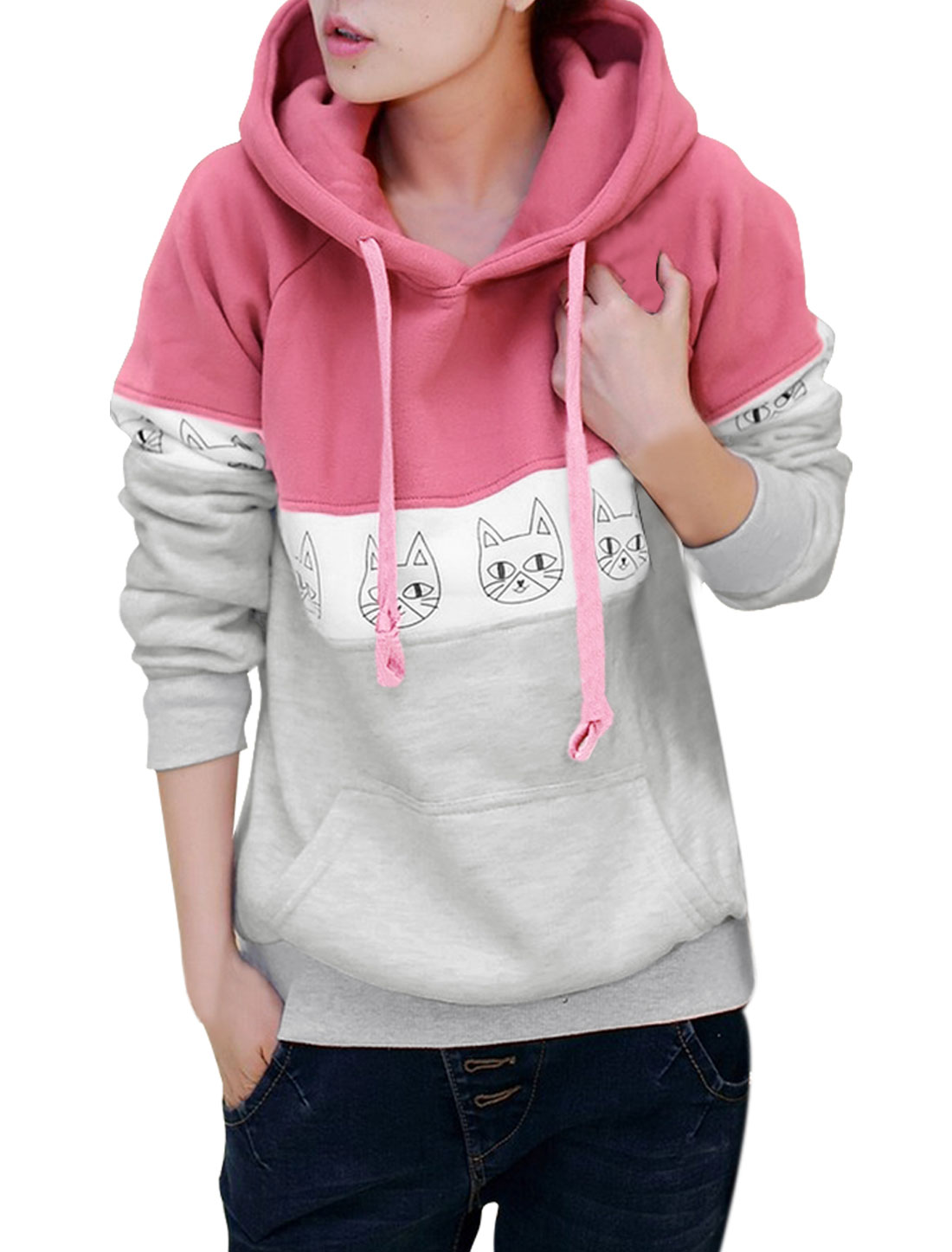 Lady Long Sleeved Cute Cat Head Prints Pink Light Gray Hoodie XS