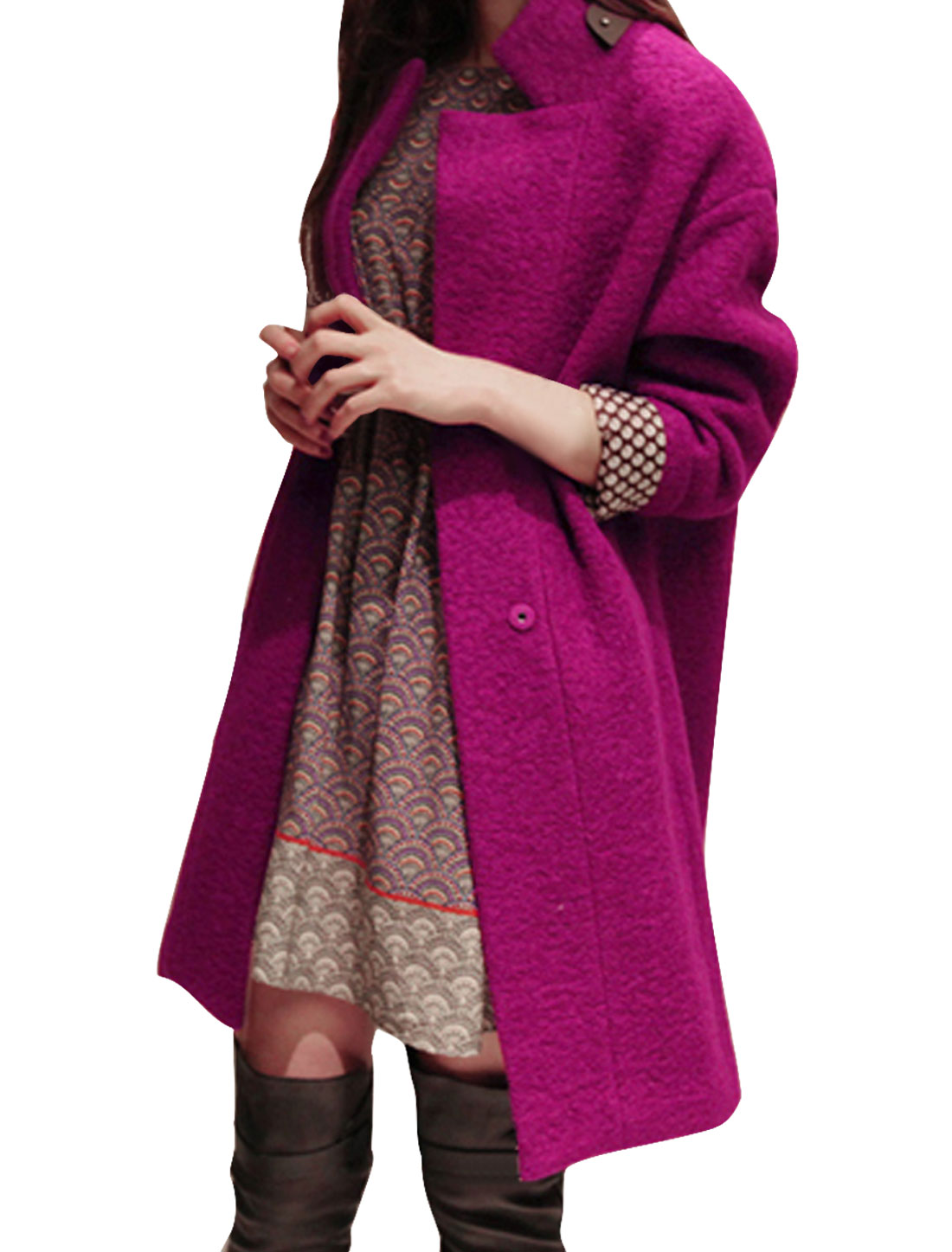 Women Convertible Collar Snap Button Up Two Pockets Worsted Coat Amaranth S