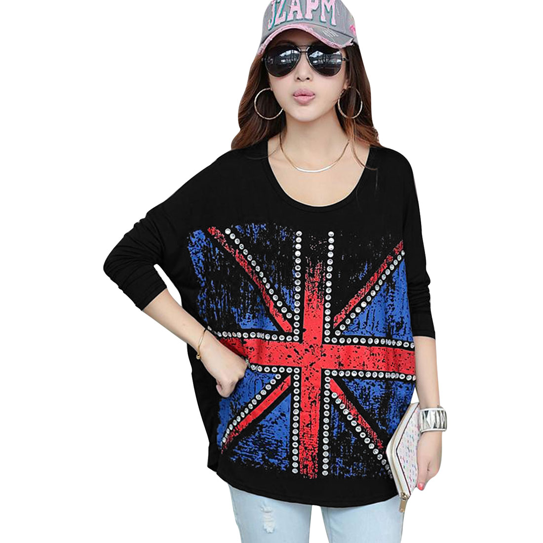 Long Batwing Sleeve Union Flag Pattern Black Top Shirt for Lady M