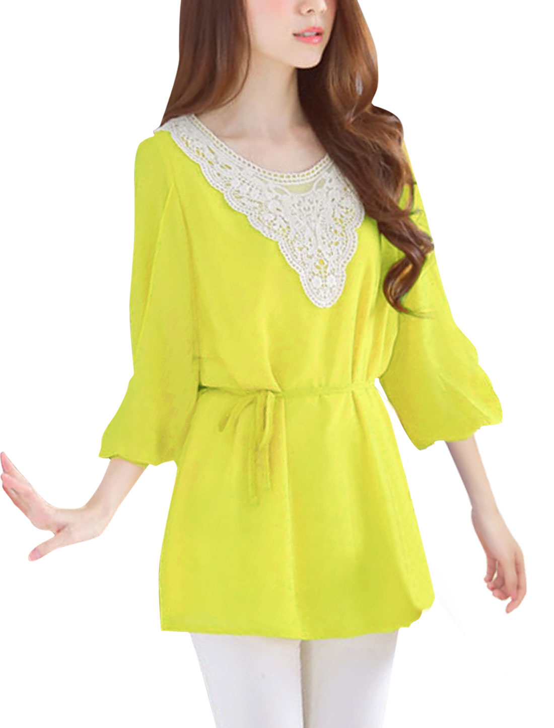 Women Scoop Neck Semi Sheer Stylish Top Shirt Yellow S