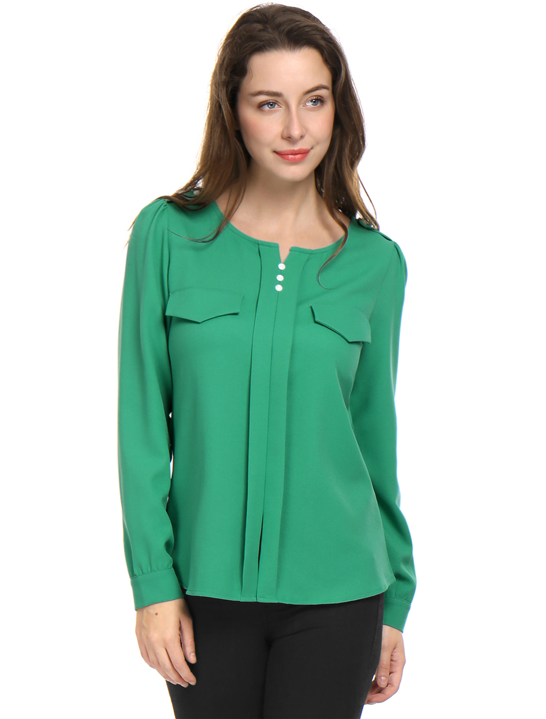 Women Long Sleeve Ruched Detail Fake Pockets Shirt Green S