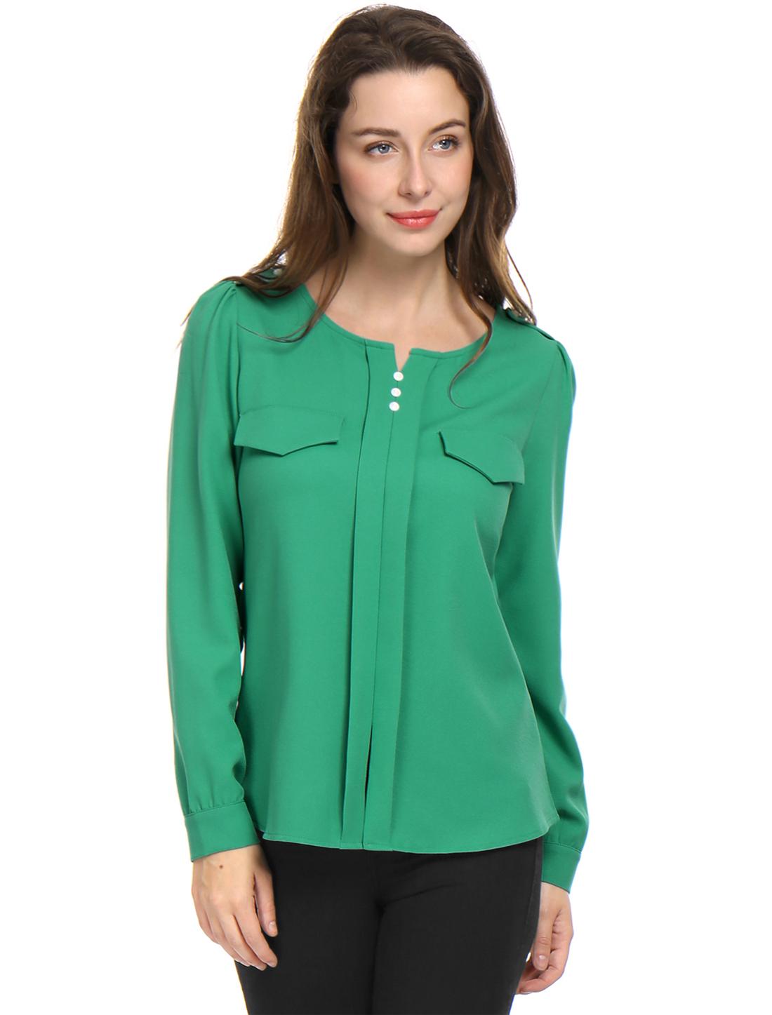 Women Long Sleeve Ruched Detail Fake Pockets Shirt Green S