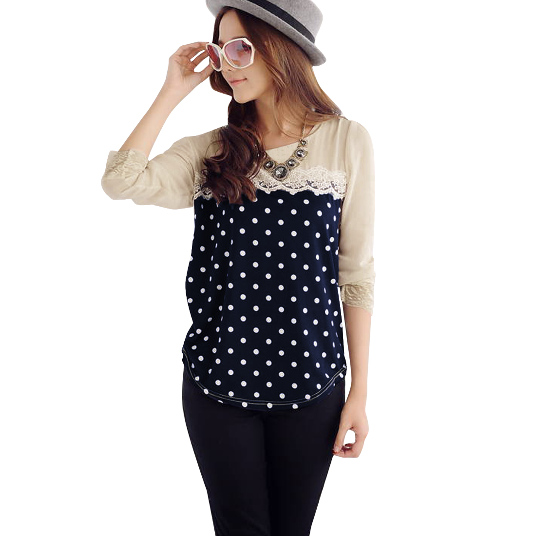 Ladies Round Neck Long Sleeve Dots Pattern Dark Blue Spliced Shirt XS