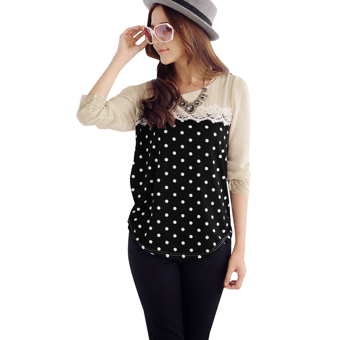Woman Chic Dots Pattern Crochet Patchwork Front Black Beige Top Shirt XS